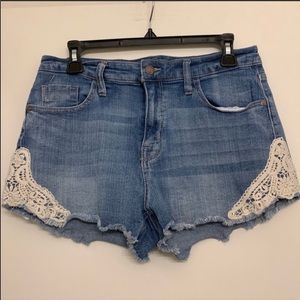 Mossimo Jean shorts with white lace side 12
